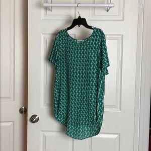 Pleione green print blouse